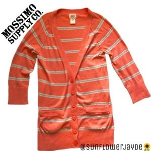Mossimo Supply Co Coral Striped Cardigan Sweater